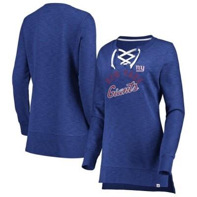 マジェスティック パーカー・スウェットシャツ アウター レディース New York Giants Majestic Women's Hyper Lace-Up Tunic Sweatshirt Royal