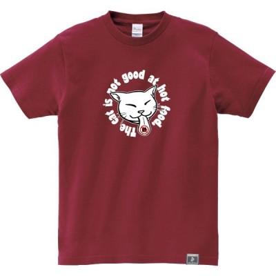 猫 Tシャツ ねこ おもしろ ネコ メンズ レディース 半袖 猫舌 エンジ