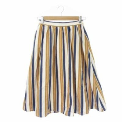 【中古】ケービーエフプラス KBF+ アーバンリサーチ スカート フレア ミモレ ロング ストライプ F 白 ホワイト