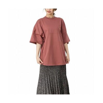 【マックハウス】 NAVY ネイビー オーガニックコットン 袖リブ切り替えTシャツ OGCS1007 レディース レッド F MAC HOUSE