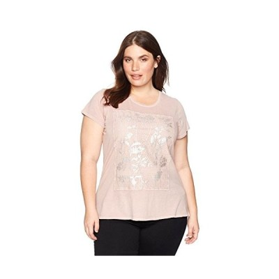 Lucky Brand Women's Printed Lace Plus-Size Tee, Shadow Grey, 3X