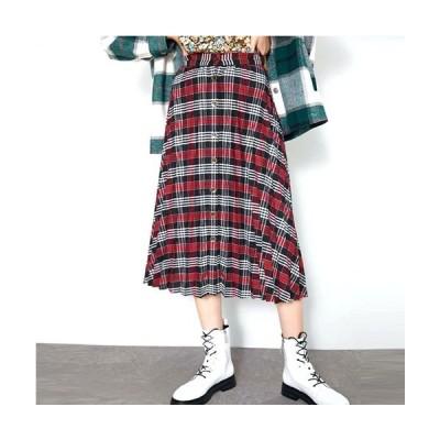 スカート レディース ロングスカート プリーツ チェック柄 フレアスカート 赤