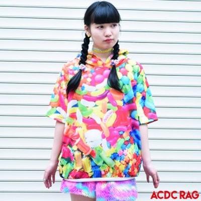 [半袖]POPキャンディーBIGパーカー 原宿系 ファッション パーカー 派手 かわいい 派手カワ カラフル 大きいサイズ オーバーサイズ 長袖