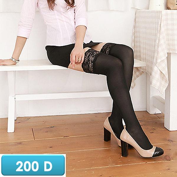 誠益, 女性長統彈性襪, 200丹尼數蕾絲+矽膠透膚漸進式壓力 款