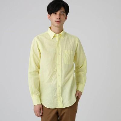 ドレステリア DRESSTERIOR 【洗える】綿/麻交織シーチングシャツ (レモンイエロー)