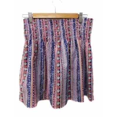 【中古】シップス SHIPS スカート ミニ 台形 花柄 ピンク 紺 白 マルチカラー レディース