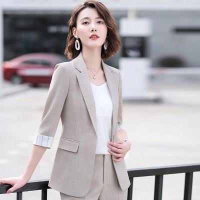 テーラードジャケット レディース 7分袖 薄手 サマージャケット グレー ベージュ 通勤 OL オフィス ジャケット 夏 20代 30代 4色 ピンク