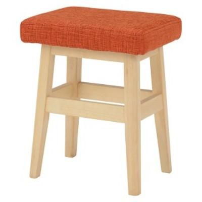 ロースツール(腰掛け椅子/チェア) 木製 高さ44.5cm 北欧風 オレンジ  〔送料無料〕