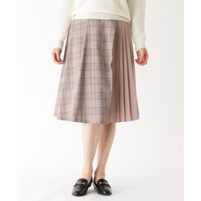 チェック×プリーツ切り替えスカート