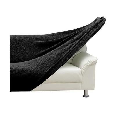 fits ソファーカバー 肘付き 3人掛け ハイバック マットブラック ストレッチ ぴったりフィット 縦横伸縮素材 北?