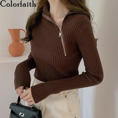 海外輸入アパレル Colorfaith New 2020 Women's Knitwears Autumn Winter Slim Warm