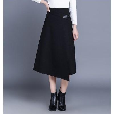 ロングスカート シック ミモレ丈 ハイウエスト アシンメトリー Aライン お呼ばれ 大きいサイズ レディース スカート