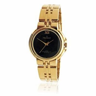 腕時計  Peugeot レディース 14Kゴールドメッキ腕時計  - ボーイフレンドスタイル スチールブレスレット ヌードブラックダイヤル