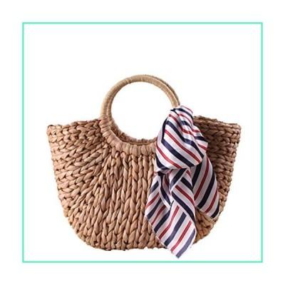 Natural Chic Straw Bag Beach Summer Rattan Bag for Women Straw Rattan Handbag (B)並行輸入品