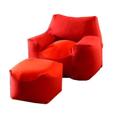 ビーズクッション+オットマンの2点セット 《レッド》 日本製 ビーズソファ ビーズクッション へたりにくい  マイクロビーズ 洗える カバー ソファ 座椅子 ビーズ クッション 足置き 背もたれ 44030091