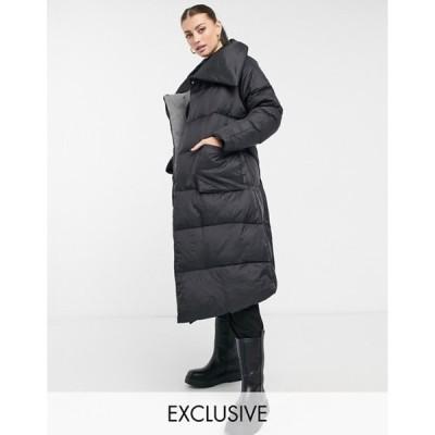 ネイティブユース レディース コート アウター Native Youth longline puffer coat with extreme collar in black