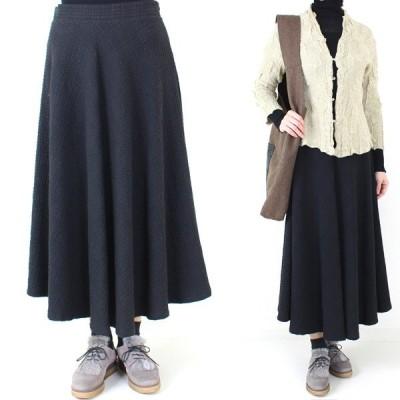 インポート 黒ワッフル加工デザインフレアスカート