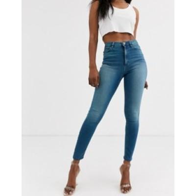 エイソス レディース デニムパンツ ボトムス ASOS DESIGN Ridley high waisted skinny jeans in sea blue wash Sea blue wash