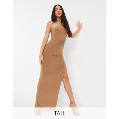 クラブ エル Club L London Tall レディース ワンピース ワンピース・ドレス One Shoulder Maxi Dress In Camel ベージュ