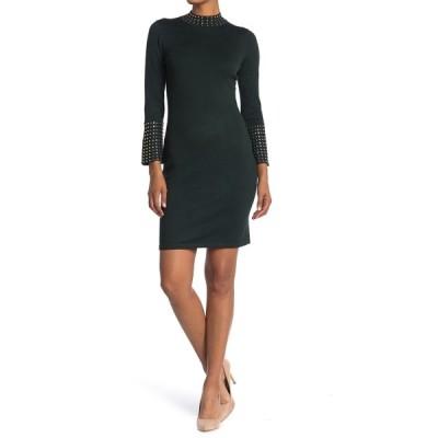 カルバンクライン レディース ワンピース トップス Mock Neck Bell Sleeve Sweater Dress MALACHITE
