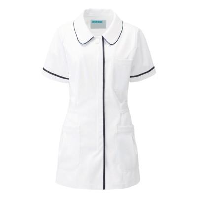 086 KAZEN レディスジャケット半袖 ナースウェア・白衣・介護ウェア