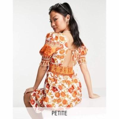 パリジャン Parisian Petite レディース ワンピース ワンピース・ドレス tie neck puff sleeve mini dress in floral print マルチカラー