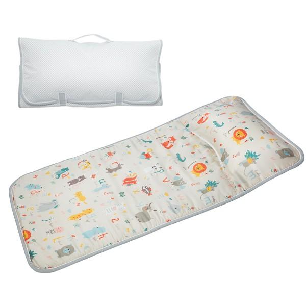 享居DOTDOT 2in1天絲睡袋睡墊(動物園ABC) 專利產品 防螨抗菌 透氣防滑 收納快速 台灣製 幼稚園 收納袋洗