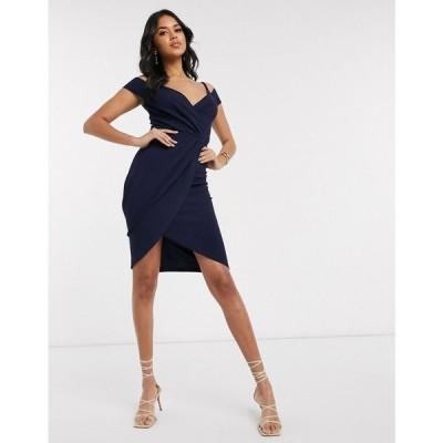 アックスパリス AX Paris レディース ワンピース ワンピース・ドレス cold shoulder dress in navy ネイビー