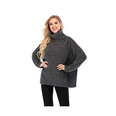Calison Women Casual Long Sleeve Turtle Neck Crop Pullover Sweater Top (Bla