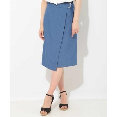 【オフオン】 ミディ丈ラップ風スカート レディース ブルー L OFUON