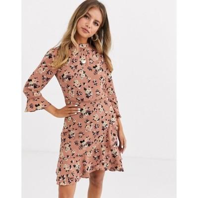 オアシス レディース ワンピース トップス Oasis skater dress with high neck in floral print