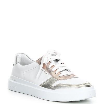 コールハーン レディース スニーカー シューズ GrandPro Rally Court Leather Lace-Up Sneakers Optic White/Gold/Rose Gold