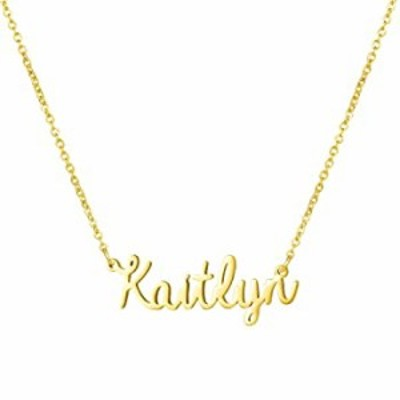 Yiyang Personalized Name Necklace 18K Gold Plated Custom Made Any Nameplate PendanKaitlyn