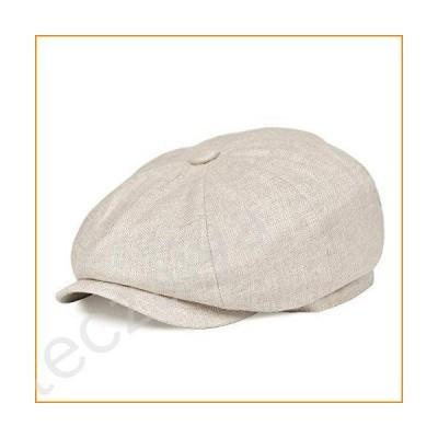 BOTVELA Men's Linen Newsboy Cap Herringbone Breathable Summer Hat (Large, Beige)並行輸入品