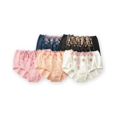 綿100%深ばきレーシーショーツ5枚組 スタンダードショーツ, Panties
