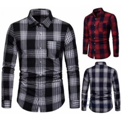 ワイシャツ メンズシャツ 大人 3色 長袖 フォーマル チェック柄 開襟 シャツ シャツトップス 上品