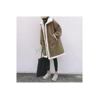 チェスターコート レディース コート 裏ボアコート 裏起毛 アウター ロングコート 長袖 冬服 厚手 防寒対策 フェイクファー ふわふわ 暖かい 2