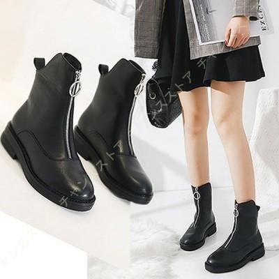 ショートブーツ レディース 疲れない ブーツ 幅広 本革 靴 マーティンブーツ フロントジップ 走れる フラット 黒 女性 ローヒール 大きいサイズ 太ヒール