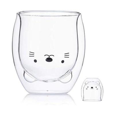 クマ型 ダブルウォールグラス 二重構造 耐熱 カップ コーヒー ラテ エスプレッソ 280ml