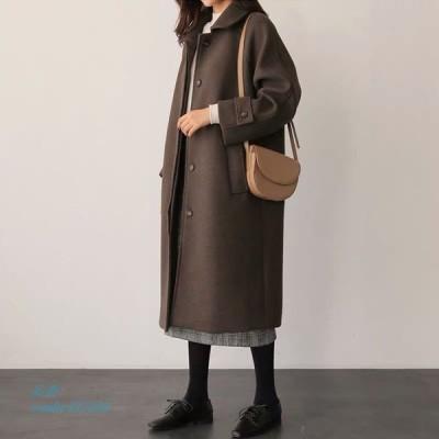 レディース コート オーバーコート ピーコート 上着 ロング 秋冬 アウター ラシャ女の子 Pコート
