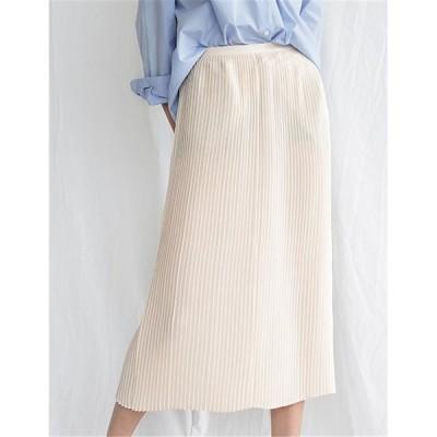 スカート プリーツスカート ロングスカート 無地  4色 レディース
