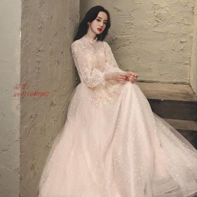 パーティードレス ワンピース ウェディングドレス 結婚式 成人式 パーティードレス 誕生日 花嫁ロングドレスお呼ばれ 挙式 エレエンパイア 演奏会