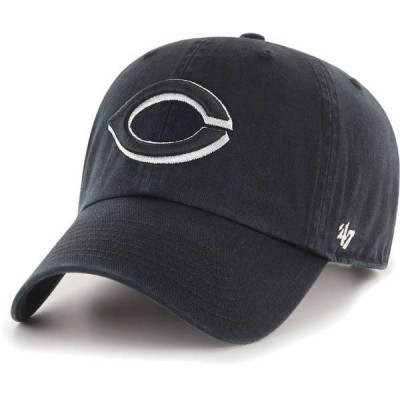 フォーティーセブン メンズ 帽子 アクセサリー '47 Men's Cincinnati Reds Black Clean Up Adjustable Hat