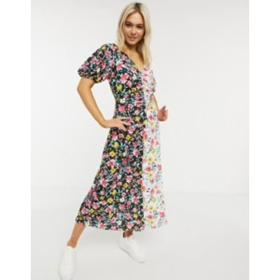 エイソス レディース ワンピース トップス ASOS DESIGN maxi dress with ruching in contrast floral print Multi floral