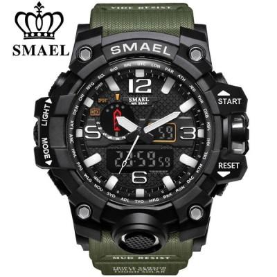 お得! SMAEL ブランド スポーツ 時計 Dual ディスプレイ Analog デジタル LED 電子 クオーツ Wristwatc