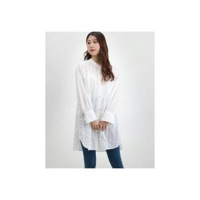 コムサイズム COMME CA ISM バンドカラー ロングシャツ チュニック (ホワイト)