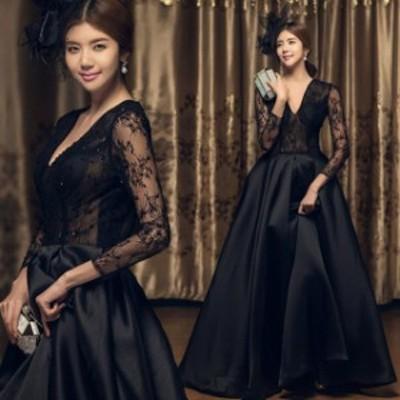 パーティードレス ロング ドレス 黒 大きいサイズ 小さいサイズ レース 袖あり フォーマル かっこいい おしゃれ 演奏会 ドレス 大人 ピア