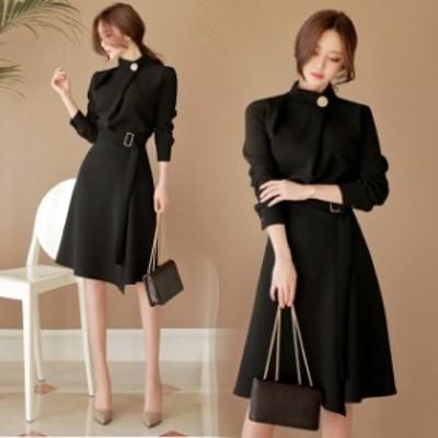 パーティーワンピース ドレス 韓国 ファッション レディース ウエストマーク ワンピース ひざ丈 ミモレ丈 春服 レディース お呼ばれワン