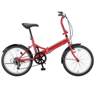 キャプテンスタッグ 折りたたみ自転車 ライヤー FDB206 折り畳み自転車 20インチ 6段変速 軽量  20インチ  レッド