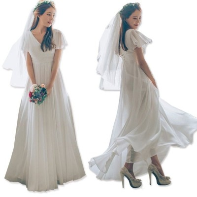 【EMS発送】Vネック エンパイアライン ウェディングドレス パーティードレス 二次会 花嫁ドレス /韓国生産/披露宴ドレス